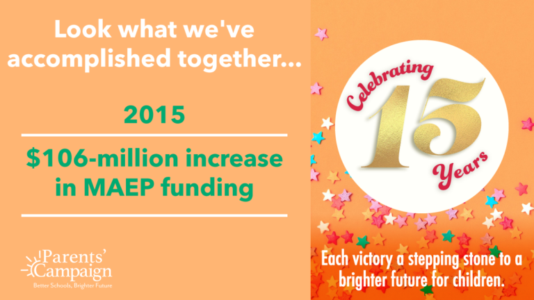 Moving school funding in the right direction! That's what you helped accomplish in 2015 with a significant increase in the MAEP appropriation, though still far short of full funding.