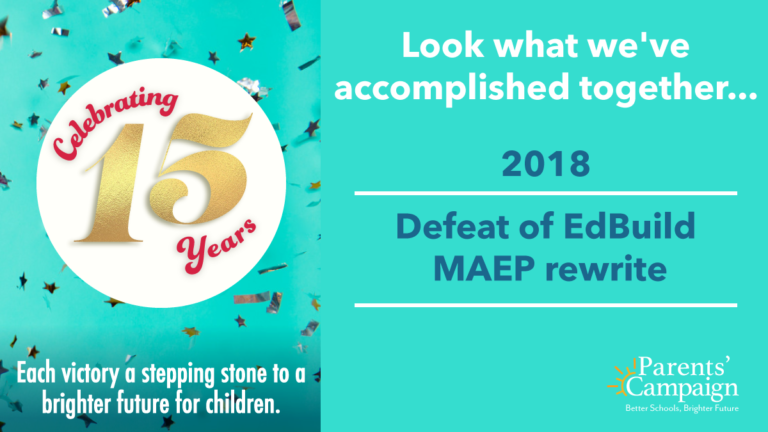 YOU, the parents, educators, and public school supporters of Mississippi, made thousands of phone calls, text messages, and personal visits to legislators in 2018, sharing your opposition to a rewrite of the MAEP that would devastate school budgets. Public school children emerged the winners after legislators defeated HB 957.